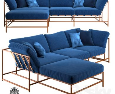 Pro 3DSky - Corner Sofa Indigo Denim and Copper Sectional ...