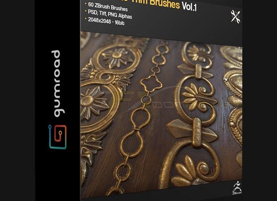 GUMROAD – ZBRUSH 60 ORNAMENT TRIM BRUSHES VOL 1 - uparchvip